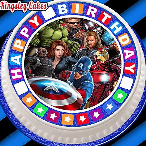 (vorgeschnittenen Essbarer Zuckerguss Cake Topper, 19,1cm rund Avengers mit Happy Birthday Bordüre)