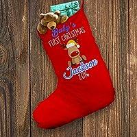 Personalizzato Calza Di Natale Rosso Blu Bambino Primo Natale Renna XL, circa 28cm x 57cm