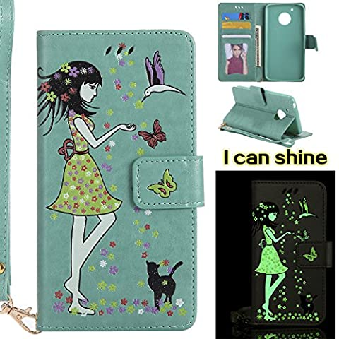 Moto G5 Flip Cover, Moto G5 Leather Case, BONROY® Luminous Girl and Cat Embossed Pattern Premium PU Leather Wallet Book Style Protective Case with Card/Cash Slots Wrist Strap For Moto G5 -