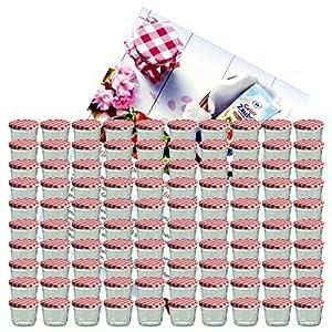 MamboCat 100er Set Sturzglas 230 ml Marmeladenglas Einmachglas Einweckglas to 82 rot Karierter Deckel incl. Diamant-Zucker Gelierzauber Rezeptheft