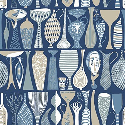 Stig Lindberg 1759 Vliestapete verschiedene Vasen in beige, Blautönen und weiß auf dunkelblau