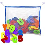 Bath Letters And Numbers With Bath Toy Organizer. The Best Educational Bath Toys with Premium Bath Toy Storage and Non Toxic BPA Free Foam Letters. The Perfect Gift With Free Bonus Toddler Care Guide E-Book