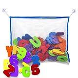 Badespielzeug - Bade Buchstaben und Zahlen mit Badezimmer Spielzeug Organizer. Das Beste Lehrreiche Badespielzeug mit Hochwertigem Badezimmer Spielzeug Organizer und Ungiftigen BPA-freuen Schaumstoff Buchstaben. Das Perfekte Geschenk!