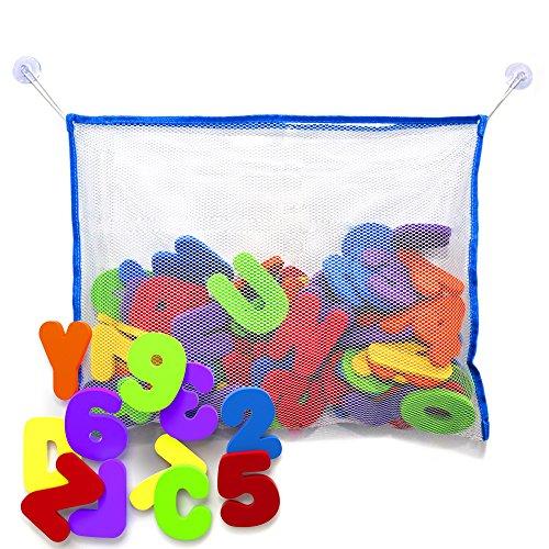 Brilliant Badespielzeug - Bade Buchstaben und Zahlen mit Badezimmer Spielzeug Organizer. Das Beste Lehrreiche Badespielzeug mit Hochwertigem Badezimmer Spielzeug Organizer und Ungiftigen BPA-freuen Schaumstoff Buchstaben. Das Perfekte Geschenk!
