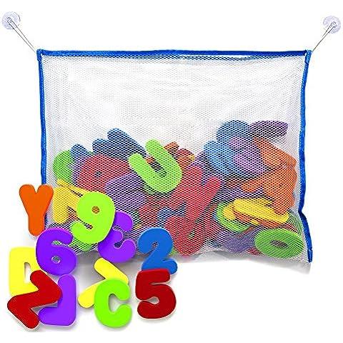 Juguetes para el Baño - Letras y números de baño con organizador. Los mejores juguetes de baño educativos con organizador premium y no tóxico sin BPA en las letras de foami. El regalo perfecto para los niños.
