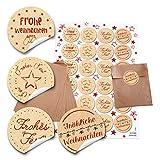 24 braune Papier-Tütchen Papiertüten Weihnachtstüten (10,5 x 15 cm) und 24 runde Aufkleber 4 cm