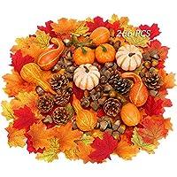 Chensensor Juego de 266 calabazas artificiales de Acción de Gracias para decoración de la cosecha de Auto, decoración del hogar, boda, fiesta, chimenea