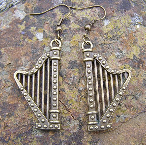 harp-music-earrings-bronze-colour-charm-and-hooks-modern-style