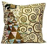 Kissenhülle Kissen Seide Klimt - Die Erwartung 50 x 50 cm von Artis Vivendi