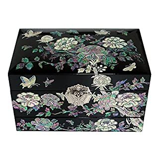 Mother of Pearl Luxury Lacquer Wood 3-Tier Peony Flower Jewelry Ring Brooch Necklace Earrings Treasure Trinket Keepsake Chest Box Case Organizer Storage
