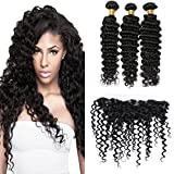 Silkylong lace closure and bundles ear to ear deep curly brazilian hair closure 13 x 4 free part hair bundles black friday sale cheap 12 14 16 +10 frontal
