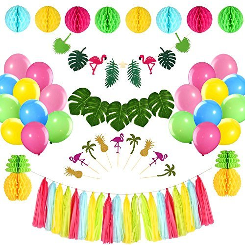 FEPITO Tropical Pink Flamingo Luau Hawaiian Party Kit Decoraciones Leaves Flamingo Banner Honeycomb Pineapple Ball para Jungle Beach Pool Tema Moana Summer Birthday Baby Shower Party Supplies
