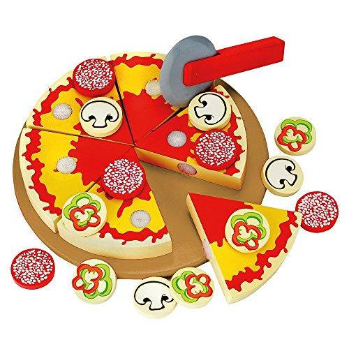 Kochen Pizza (Mertens Bino 774098 - Holzpizza zum selber schneiden mit Brett aus Naturholz)