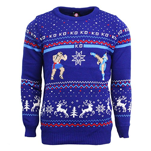 Street Fighter Sagat vs Chun Li Official Christmas Jumper / Sweater (X Large)