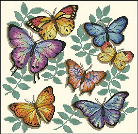 14 count aida needlepoint cross stitch butterfly kit with colorful chart D343