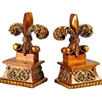 LYLY Serre-Livres Gold Fleur de Lis Bookends Decor Bookend Statues Decoration Résine Bookend Supports Supports du Livre…