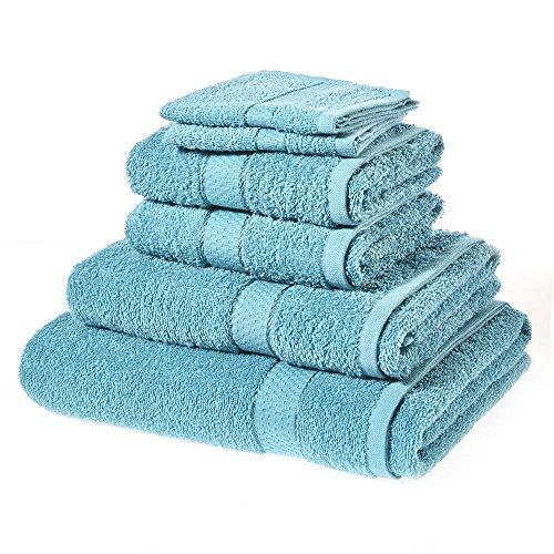 Juego de 6 toallas de baño de algodón puro de alta calidad, color negro, 500 g/m²