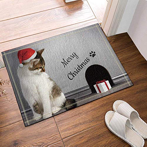 dsgrdhrty Grauer Hintergrund weiße Katze braune Augen roten Hut weiße Geschenkbox rutschfeste Badezimmer-Dusche-Küchen-Samt-Karikatur-HD-Landschaftsinnenkissen