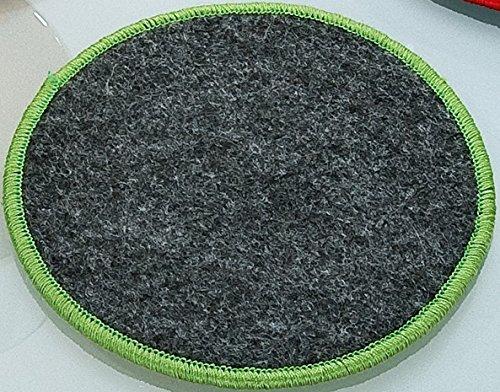 Filzuntersetzer rund Ø 10 cm mit Saum farbig umsäumt Rand gesäumt Filz Untersetzer dunkelgrau mit grünem Rand 4er Set Gilde