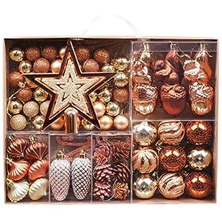 Valery Madelyn 70 Piezas Bolas de Navidad de 3-6 cm, Adornos Navideños para Arbol, Decoración de Bolas de Navidad Inastillable Plástico, Regalos de Colgantes de Navidad
