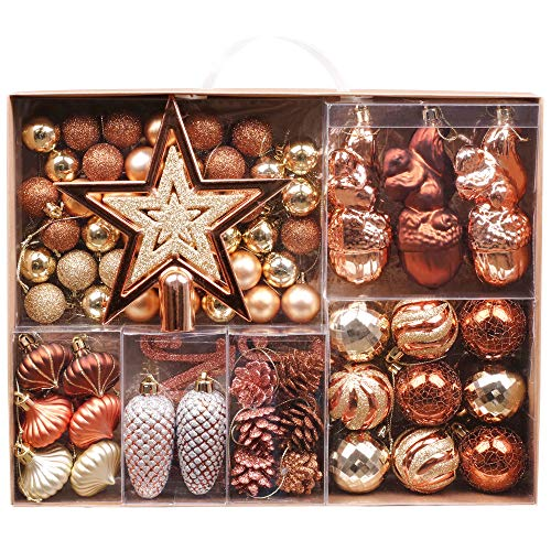 Valery Madelyn Palline di Natale 70 Pezzi Cm Plastic Palline di Natale Decorazioni Albero di Natale con Albero di Natale Lace And Hanger Decorazione Natalizia Forest Theme Copper Gold Multiwrapping