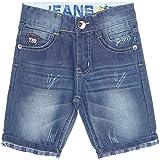 Jungen Kinder Cargo Kurze Hose Bermuda Shorts Capri Vintage Jeans Strech 21213, Farbe:Blau;Größe:128