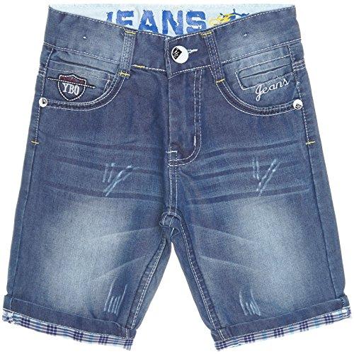 Jungen Kinder Cargo Kurze Hose Bermuda Shorts Capri Vintage Jeans Strech 21213, Farbe:Blau;Größe:104