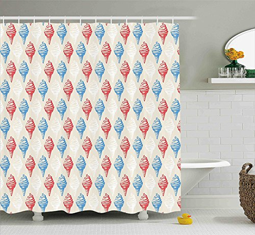 ajnxcid Vintage Shower Curtain, Dessert Theme Decorations for Kitchen Illustration of Ice Cream Print, Fabric Bathroom Decor Set with Hooks, 70 inches, Egg Shell Red and Blue