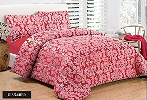 Quilted 3 Pieces Bedspread Modern Floral Jacquard Luxury Comforter Bedding Set Includes 1 x Bedspread/Comforter & 2 x Shams Pillow Cases Double King And Super King Size (SUPER KING, RED)
