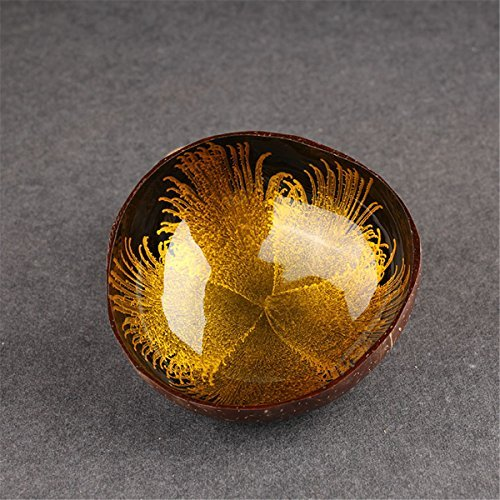 Decorative Bowl, Essort Natural Coconut Shell Bowl Dishes Mosaic Handmade Kitchen Paint Craft Home Decorate Yellow