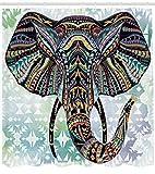 ABAKUHAUS Elefante Cortina de Baño, Figuras de Animales Nursery Tribu Vintage Patrón a Rayas Diseño, Estampa Moderna sobre Tela Resistente al Agua Fácil Limpieza, 175 x 200 cm