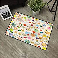 NineHuiTechnology Non-Slip Welcome Mat Entrance Way Rug, Durable Low-Profile Front Outdoor Heavy Duty Doormat for High Traffic Area, Nursery, Owls Flowers Colorful