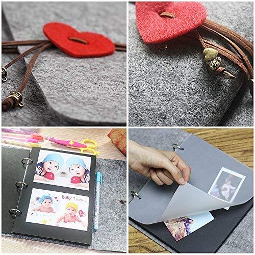 Lvcky Filz Herz Selbstklebendes Fotoalbum DIY Retro Bild Scrapbook Albums Jahrestag Hochzeit Erinnerungsbuch Geschenk Groß Grau Groß Grau