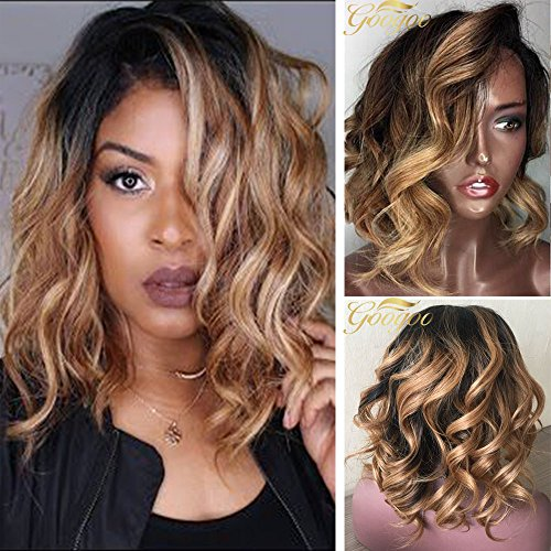 Googoo Human Hair Brazilian Wigs Lace Front Wig Virgin Hair 12inch Short Human Hair Wigs with Baby Hair Bob Wig Natural Hair Ombre Black to Blonde 130% Density Curly Glueless Wigs for Women Wavy Remy Hair Natural Hairline