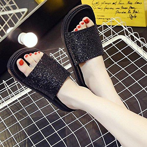 LvYuan Pantoufles d'été pour femmes / Confort Décontracté Mode / Socles / plates-formes / sandales / chaussures de plage Black