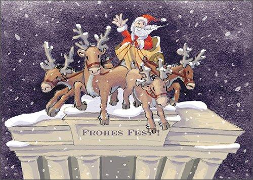 Schöne Berliner Weihnachtskarte mit der Weihnachts Quadriga auf dem Brandenburger Tor • auch zum direkt Versenden mit ihrem persönlichen Text als Einleger.