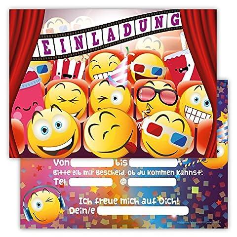 12 Lustige Einladungskarten Set fr Kindergeburtstag Emojis Kino Party Jungen Mädchen Kinder Partyspiele Karten Kinofilm Emoji Smileys Film