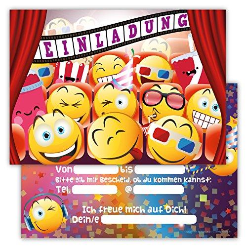 12 Lustige Einladungskarten im Set für Kindergeburtstag Emojis Kino Party für Jungen Mädchen Kinder Partyspiele Karten Kinofilm Emoji Smileys Film Popcorn Softdrinks witzig