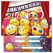 12 Lustige Einladungskarten Im Set Für Kindergeburtstag Emojis Kino Party  Für Jungen Mädchen Kinder Partyspiele Karten