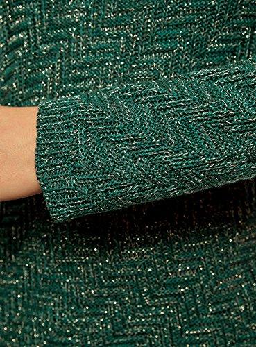 oodji Ultra Damen Strukturierter Strickpullover Diagonal Gestreift Grün (696EM)