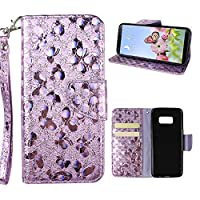 Galaxy S8 Plus Wallet Case, Samsung Galaxy S8 Plus Cover Case, Rosa Schleife Sparkle Bling Glitter PU Leather Butterfly Painting Pattern Embossed Floral Flip Folio Magnetic Snap Leather Phone Case Protective Case Cover Shell Skin for Samsung Galaxy S8 Plu