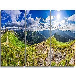 "Design Art MT11242-3P Sunny Day Tatra Mountains Panorama Landscape Metal Wall Art (3 Piece),Blue,36x28"""