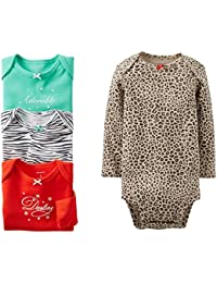 Carter's Baby Girls' 4 Pack Animal Print Bodysuits