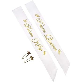 Yolito 2 Pack Roi Prom et Sash Queen Satin Sash, Accessoire de fête  d école, Blanc avec Lettre d or da40d736954