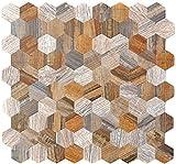 Mosaik Fliese selbstklebend Aluminium grau beige Hexagon metall Holzoptik für BODEN WAND BAD WC DUSCHE KÜCHE FLIESENSPIEGEL THEKENVERKLEIDUNG BADEWANNENVERKLEIDUNG Mosaikmatte Mosaikplatte