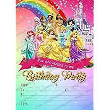 Las niñas Disney princesa fiesta de cumpleaños invitaciones, Disney princesa fiesta x 8tarjetas y libre sobres