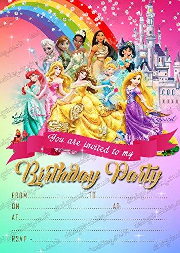 Ensemble de 8 invitations à un anniversaire Princesse Jasmine de Disney avec enveloppes, pour filles