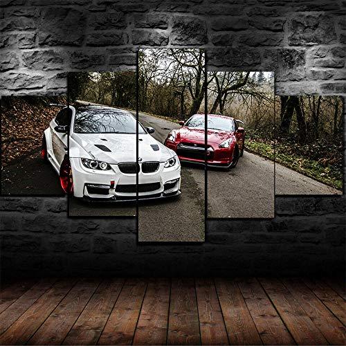 Girdss Kunstdrucke Moderne Druck Malerei Hintergrund Dekoration Modular 5 Stücke Leinwanddrucke Weißer Bmw E92 Roter Nissan Gtr R35 Tuning Poster Wandkunst Leinwand Creative Geschenk Kunstwerk150X80Cm