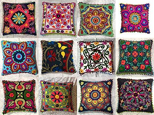 Indian Designer Home Decor Floral Cotton Pillow Case Decorative Sofa Boho Chic Bohemian Throw Pillow Cover, Outdoor Sequin Hand Embroidered Suzani Cushion Cover, Boho Decor Handmade Couch Pillow (5pc) (Indian Home Decor)