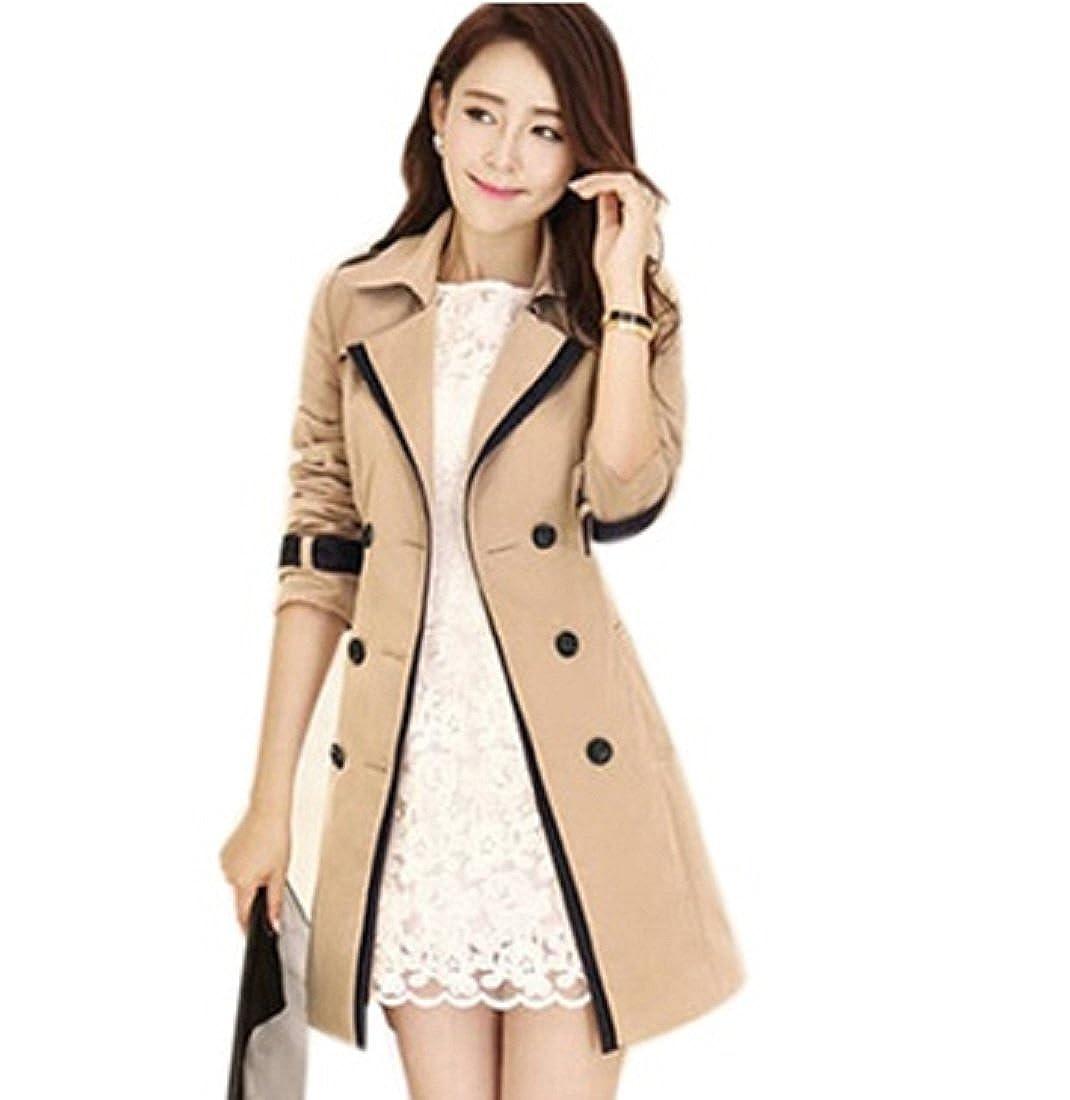 Ladies Womens Fashion Trench Coat Mac Jacket Beige Black: Amazon ...